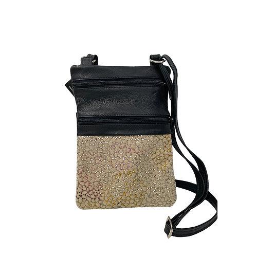 Small Double Zipper Crossbody Bag Black w/Rainbow print