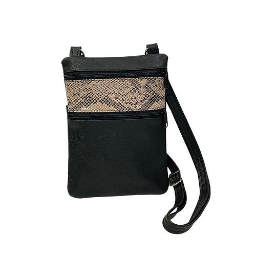 Small Double Zipper Crossbody Bag Black w/Snake Print