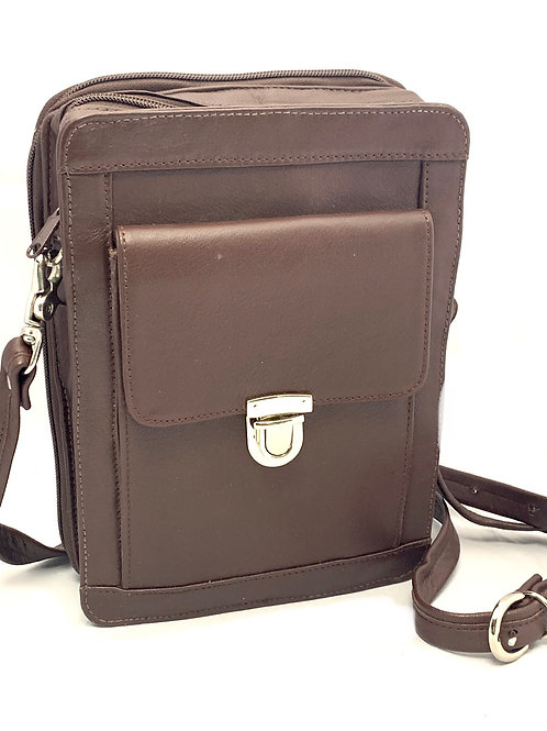 Organizer Style Tablet Leather Crossbody Bag