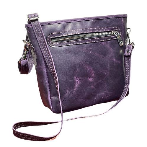 Distressed Purple Leather Crossbody Traveler Bag