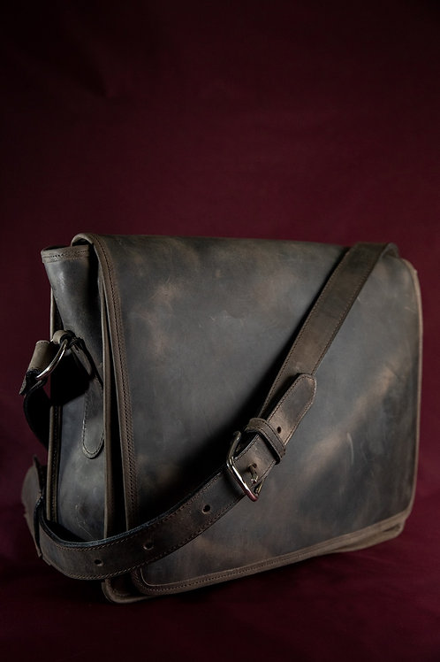 Messenger Style Leather Crossbody Bag