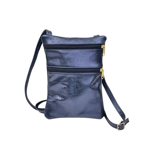 Small Double Zipper Crossbody Bag Metallic Leather