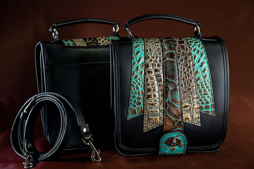 Ultimate Organizer Leather Handbag/Crossbody Teal Croco Embossed