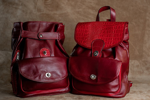 Style Backpack Medium Bisonte Red Leather