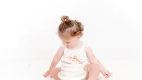 All white cake smash session   Ivory White Photography