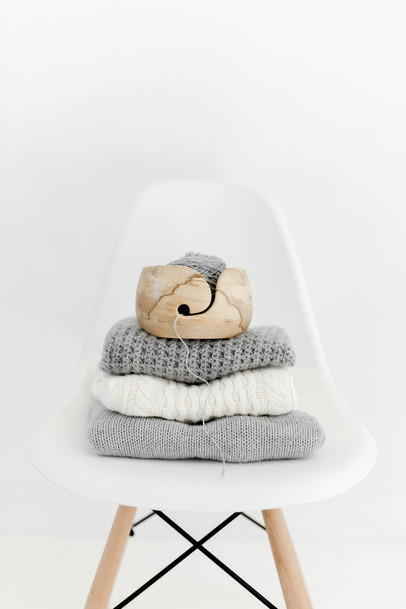wooden yarn bowl on jumpers. essex photographer