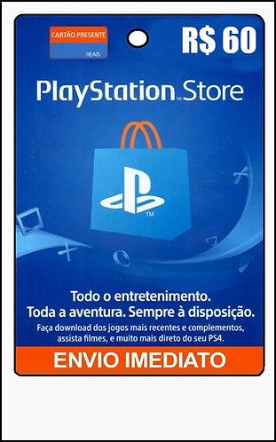 GIFT CARD - PSN STORE - CARTÃO RECARGA R$ 60