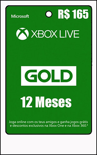 GIFT CARD - 12 MESES LIVE GOLD R$165
