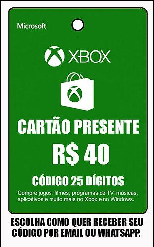 GIFT CARD - CARTÃO PRESENTE  CASH R$40