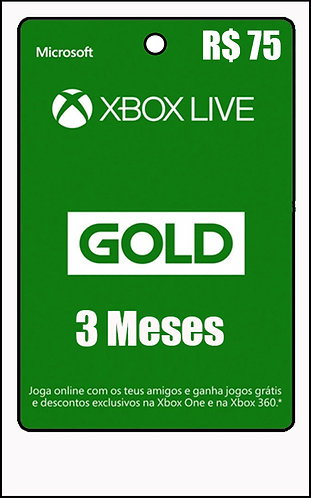 GIFT CARD - 3 MESES LIVE GOLD R$75