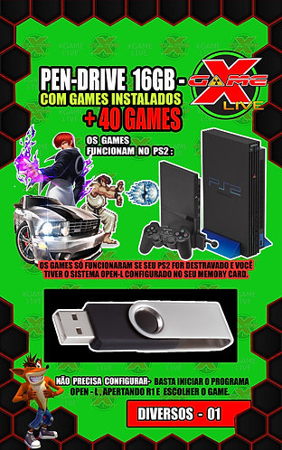 Pendrive 16gb /Open L / Playstation 2 + 40 Games Instalados
