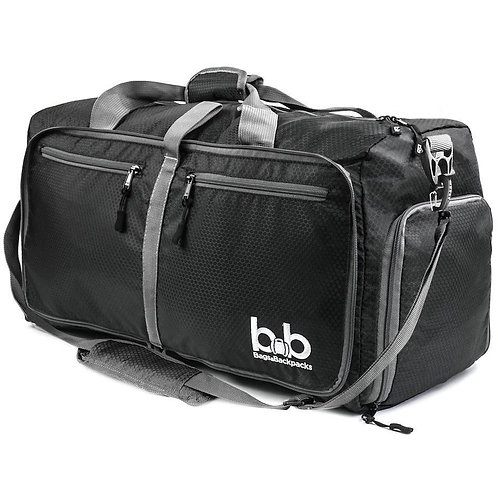60L Medium Gym Duffle Bag With Pockets - Foldable Lightweight Travel Bag