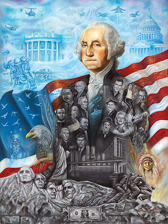 Washington portrait painting, american history painting