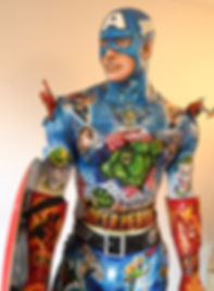 Captaim America sculpture made of clay, it has moe than 40 mini scultures and paintings of comics