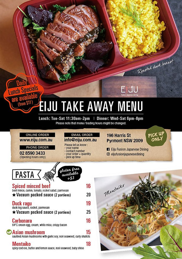 Take Away Menu April 2020 Front Page (We