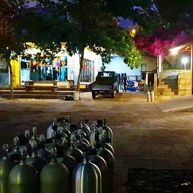 Dive shop at night