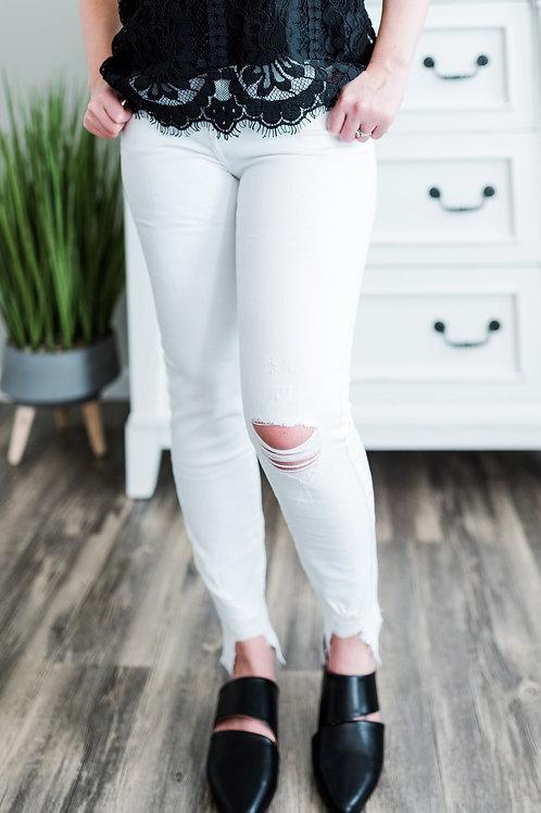 Springing Forward White SKinny Jean