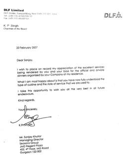 Letter of Appreciation - DLF
