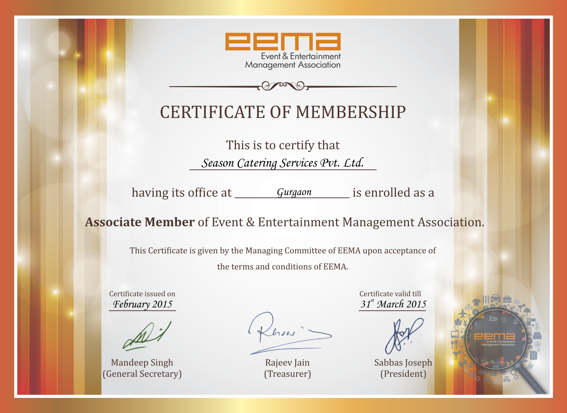 Seasons Catering- EEMA membership