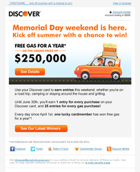 Discover Memorial Day Contest Email