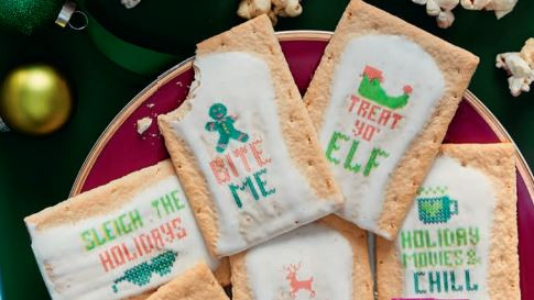christmas themed pop tarts decorated using a food printer