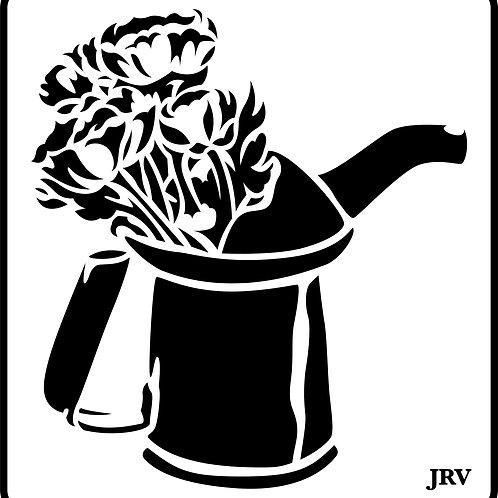 Oil Can with Flowers