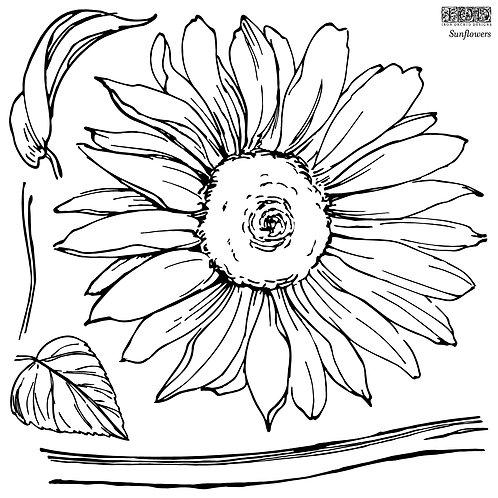 Sunflowers Decor Stamp 12x12