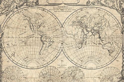 "'World Map' JRV Decoupage Paper 20""x30"""