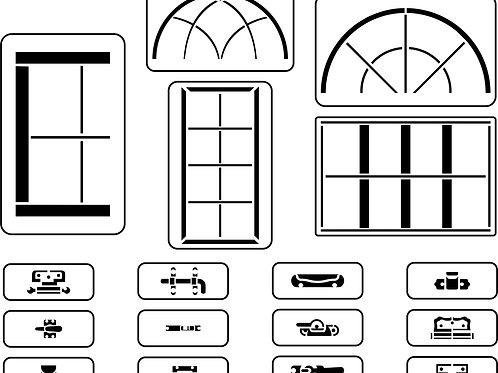 Window Maker Stencil Set of 17