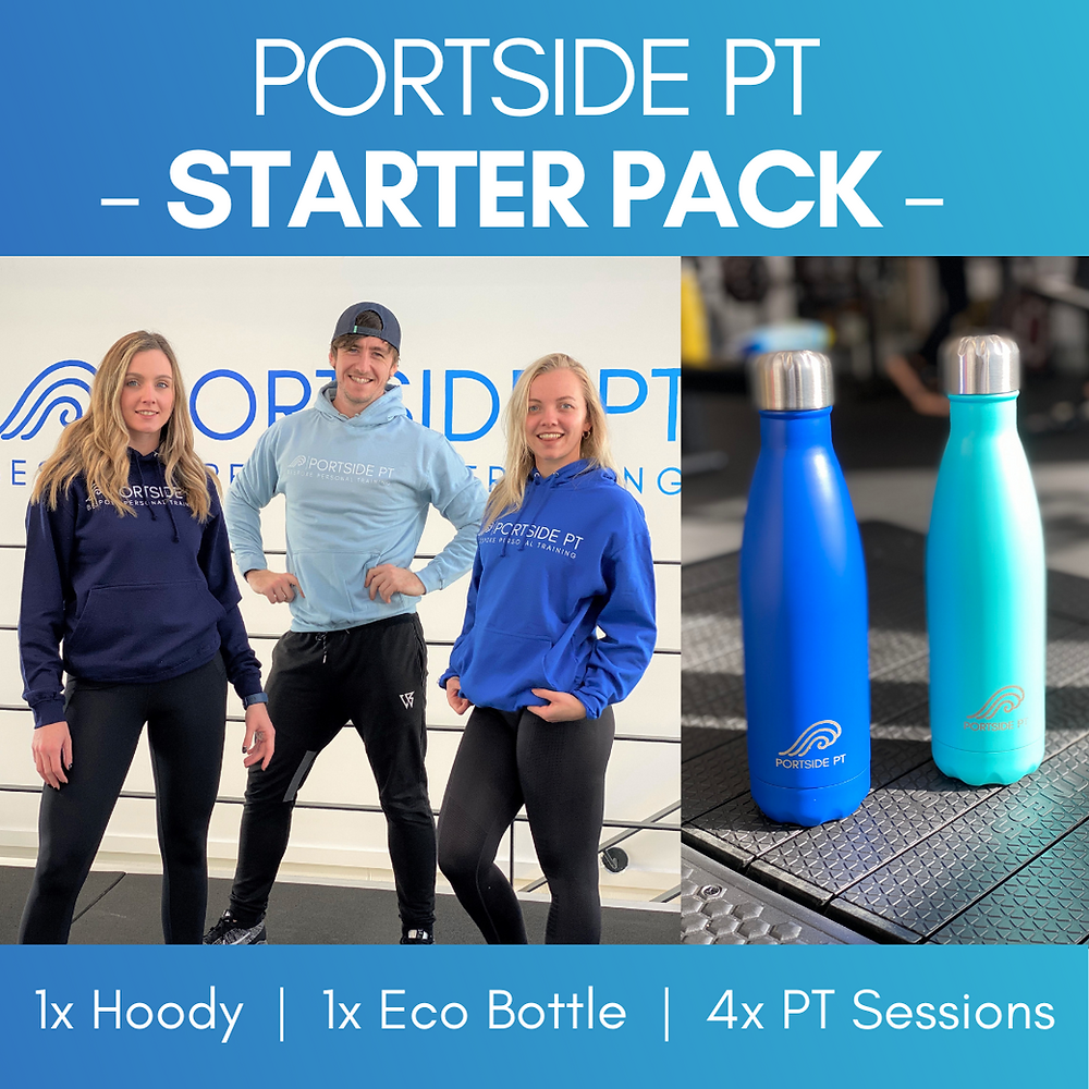 Get back on track with your health, fitness & wellness with our brand new starter pack. 4x Personal Training Sessions, 1x Eco Bottle & 1x Portside PT Hoody!