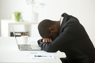 African-american tired deprived business