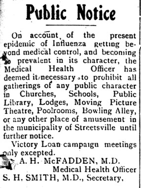 Spanish Flu Notice 31-Oct-1918