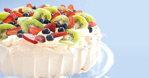 Fresh Fruit Cream Pavlova Cake