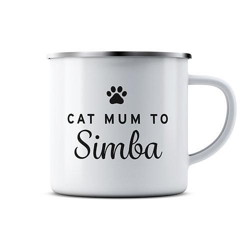 Personalised Cat Parent Enamel Mug