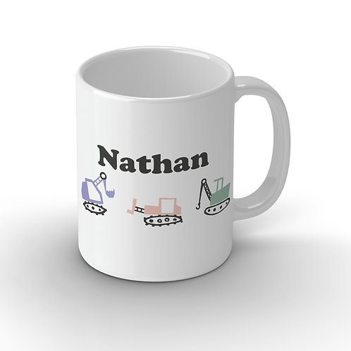Personalised Digger Ceramic Mug