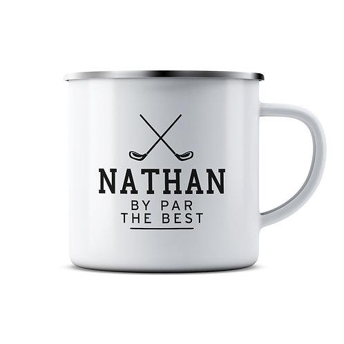 Personalised Best Golfer Enamel Mug