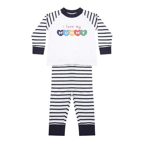 Love My Mum Baby Striped Pyjamas