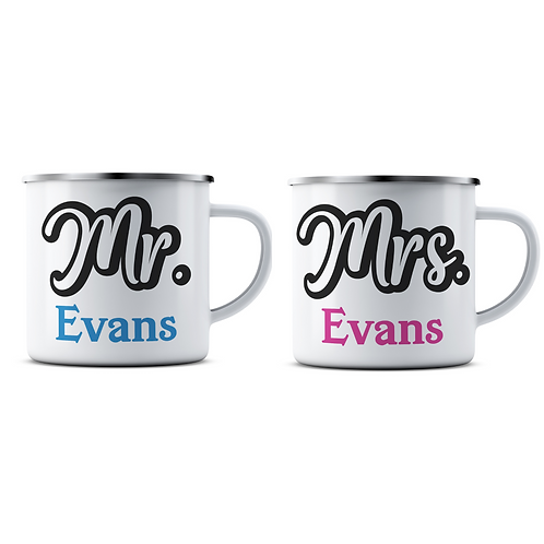 Personalised Wedding Enamel Mug Set
