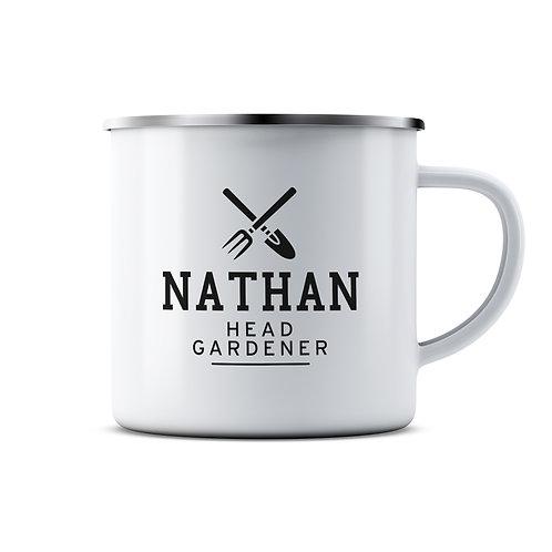 Personalised Head Gardener Enamel Mug