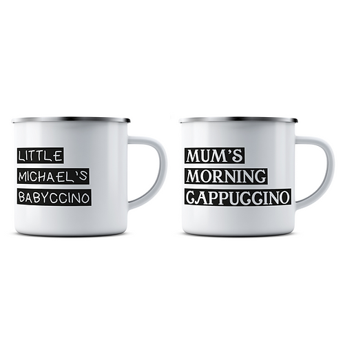 Personalised Cappuccino and Babyccino Enamel Mug