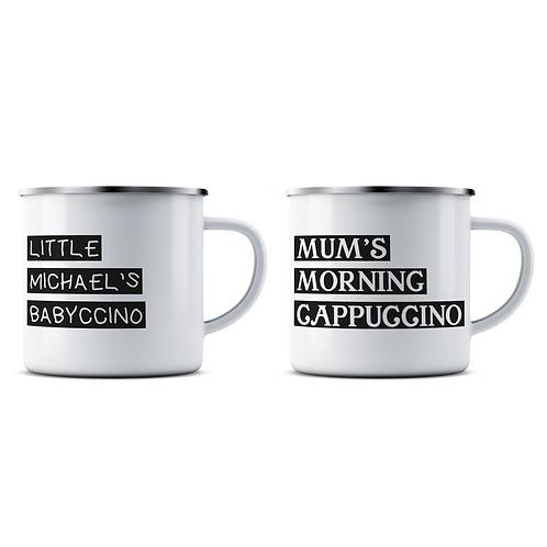 Personalised Cappuccino and Babyccino Enamel Mug