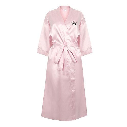 Bespoke Initials Pink Satin Robe