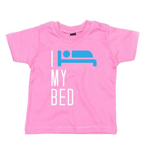 I love my bed baby tshirt