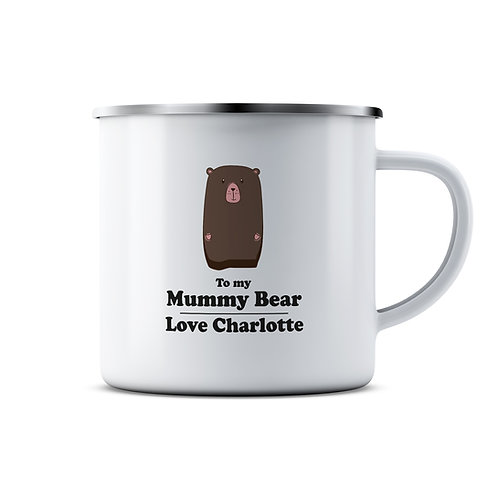 Personalised Family Bear Enamel Mug
