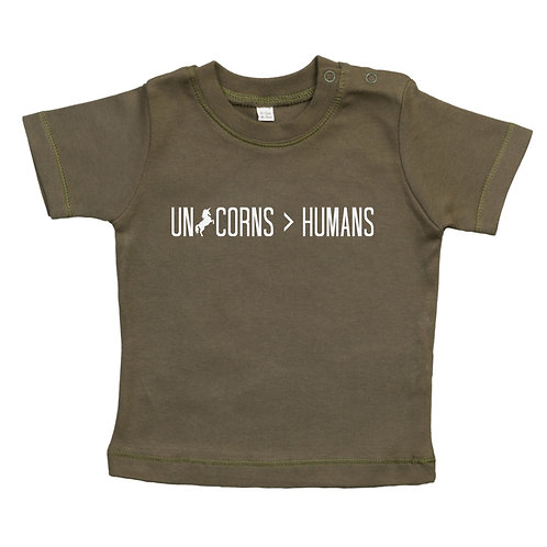 Unicorns over humans baby tshirt