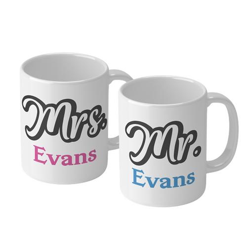 Personalised Wedding Ceramic Mug Set