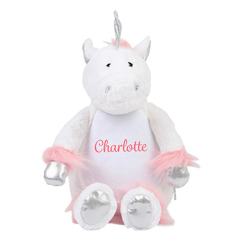 Personalised White Unicorn Teddy