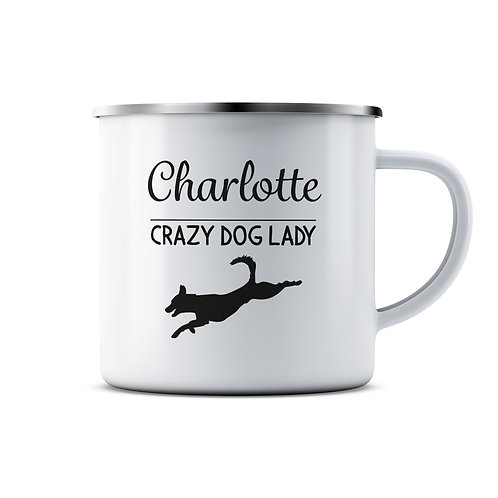 Personalised Crazy Dog Person Enamel Mug