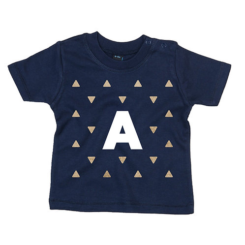 Glitter With Initial Baby Tshirt
