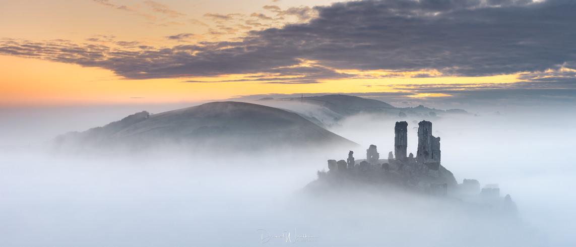 Corfe Castle Mist Panorama